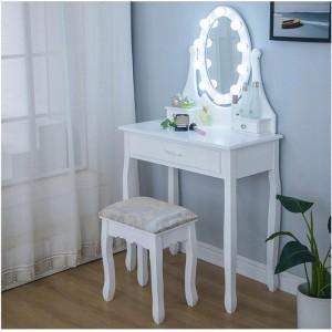Toaletný stolík s LED zrkadlom a jednou zásuvkou