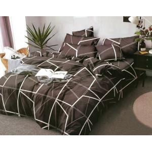 Krásne posteľné prádlo z mikrovlákna v hnedej farbe s bielymi čiarami