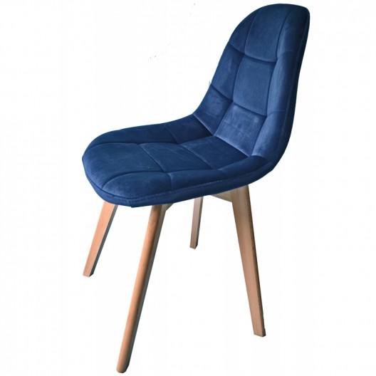 Modrá dizajnová stolička s čalúnením do kuchyne