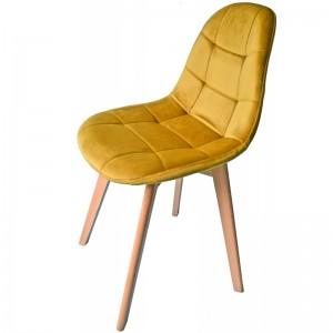 Luxusná čalúnená stolička horčicovo žltej farby
