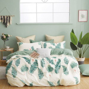 Zelené bavlnené obojstranné posteľné obliečky listy
