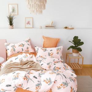 Ružové bavlnené obojstranné posteľné obliečky