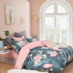 Nádherné bavlnené ružovo sivé posteľné obliečky KVETY