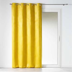 Žlté zatemňovacie závesy s tropickým motívom 140x240 cm