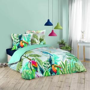Bavlnené posteľné obliečky s pestrofarebným tropickým motívom 200x200 cm