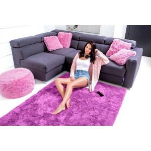 Žiarivý plyšový koberec vo fialovej farbe 120 x 170 cm