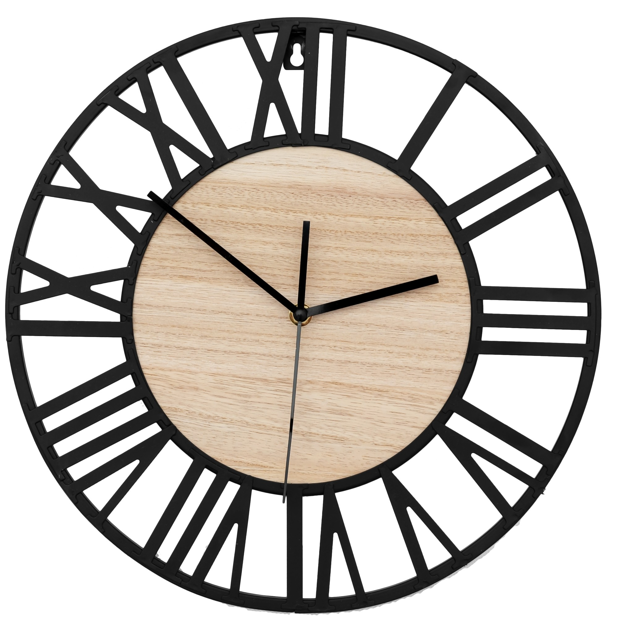 DomTextilu Moderné kovové nástenné hodiny s dreveným stredom 24620