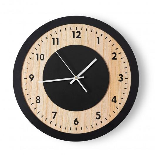 Luxusné čierne hodiny s textúrou dreva 40x40 cm