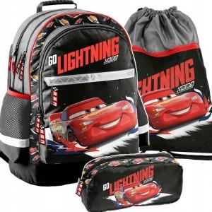 Krásna školská taška v troj kombinácii s motívom CARS