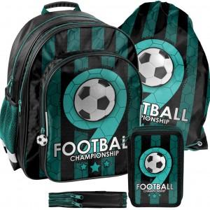 Trojdielna školská taška pre chlapca s motívom FOOTBALL