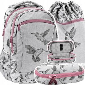 Krásna trojčasťová dievčenská školská taška s vtáčikmi