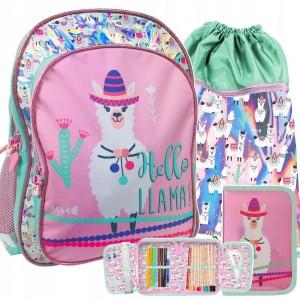 Dievčenská školská taška trojdielna s motívom LAMA
