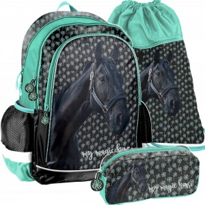 Trojdielny set dievčenskej školskej tašky MAGIC HORSE
