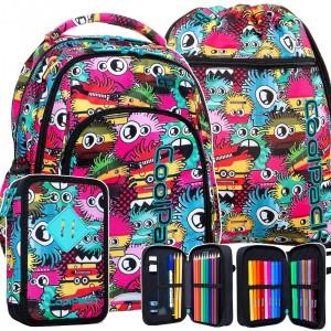 Štýlová dievčenska školská taška v trojsade s motívom MONSTERS