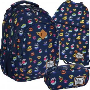 Modrá dievčenská školská taška v trojsade z kolekcie KISS