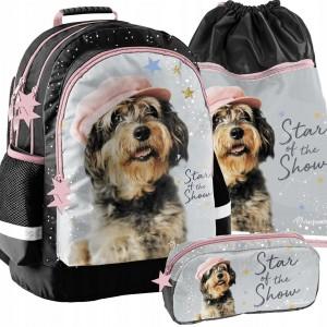 Dievčenská školská taška v trojsade so zábavným psíkom
