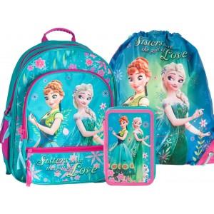Dievčenská školská taška v trojsade s motívom FROZEN
