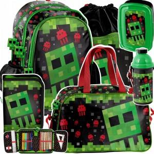 Moderná školská šesťdielna taška pre chlapcov MINECRAFT