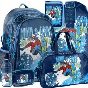 Šestdielna školská taška pre chlapcov SNOWBOARD