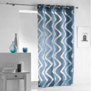 Štýlová modrá vzorovaná záclona na kruhy 140 x 240 cm