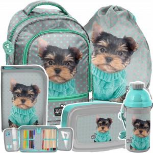 Krásna zelená päťčasťová školská taška so psíkom YORK