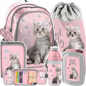 Ružová päťdielna školská taška pre dievčatko SWEET KITTY