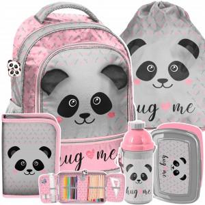 Roztomilá dievčenská ružová päťdielna školská taška PANDA