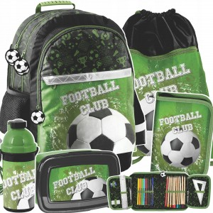 Štýlový školský zelený päťdielny batoh pre milovníkov footbalu