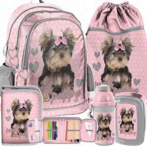Krásna ružová školská päťdielna taška pre prváčku YORK