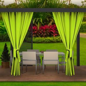 Krásne letné limetkovo zelené závesy do záhradného altánku