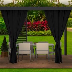 Moderné extérierové čierne závesy na záhradnú terasu