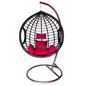 Závesné kreslo COCON s vankúšmi v červenej farbe