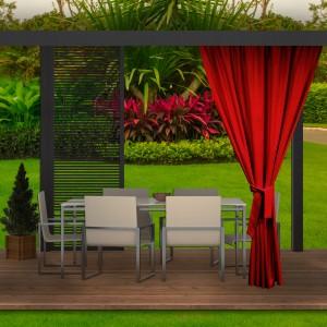 Krásny červený záhradný záves do altánku