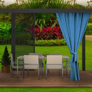Štýlové modré vodeodolné záhradné závesy do altánku