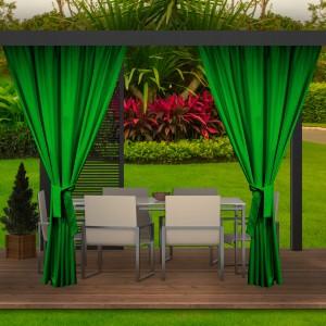 Unikátne výrazne zelené závesy do záhradných terás a altánkov