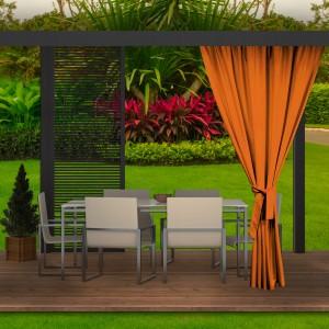 Moderný oranžový záves do záhradného altánku
