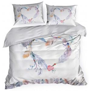 Biele romantické posteľné obliečky s motívom srdca