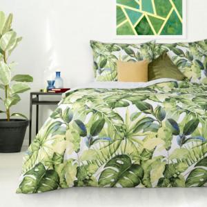 Bavlnené posteľné obliečky s exotickým motívom zelenej farby