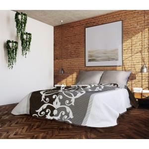 Luxusný obojstranný prehoz na posteľ hnedej farby