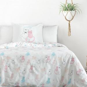 Biele bavlnené posteľné obliečky s mačiatkami