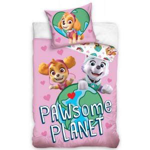 Ružové posteľné obliečky PAW PATROL pre deti