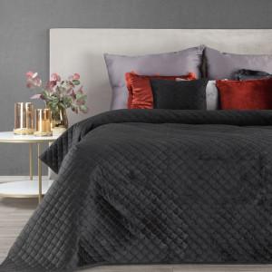 Luxusný čierny prešívaný prehoz na posteľ