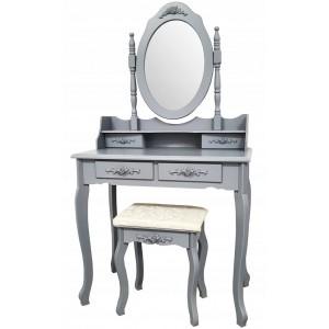 Kvalitný toaletný stolík so stoličkou v sivej farbe