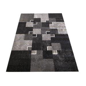 Trendy koberec s kockami sivej farby s khaki