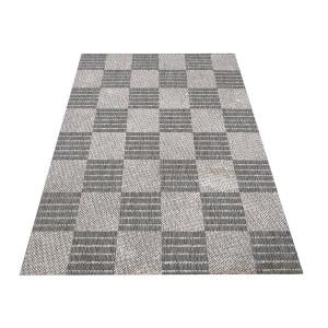 Obojstranný koberec sivej farby s kockami