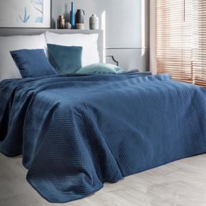 Obojstranný prešívaný prehoz na posteľ v modrej farbe