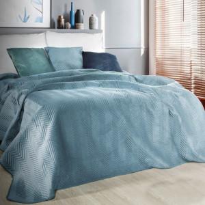 Luxusný dekoračný prehoz na posteľ modrej farby