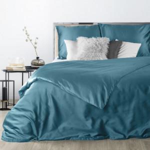 Tyrkysové saténové posteľné obliečky v obojstrannom vyhotovení