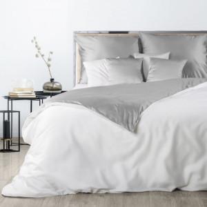 Bielo sivé obojstranné posteľné obliečky z bavlneného saténu