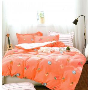 Oranžové posteľné obliečky s motívom ovocia